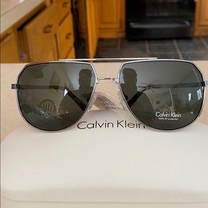 Calvin Klein silver square sunglasses NWT R161S